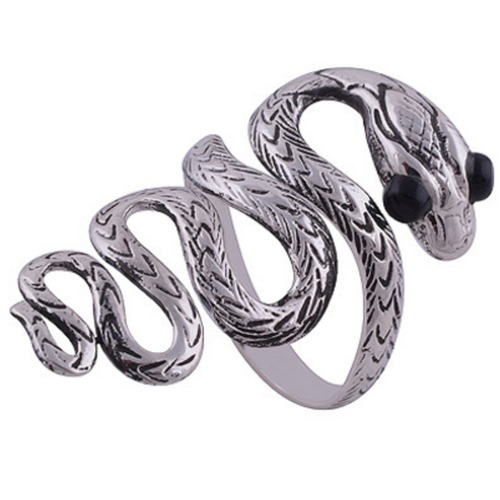The Black Eye Snake Silver Ring
