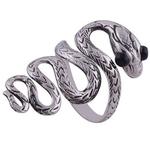 The Black Eye Snake Silver Ring