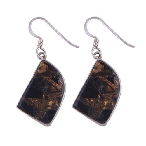 The Black Copper Turquoise Silver Earrrings