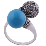 The Turquoise n Marcasite Sphere Silver Ring