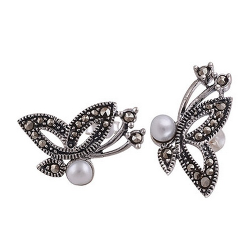 The Marcasite & Pearl Cut Stone Studs