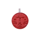 The Carved Manmade Stone Silver Pendant