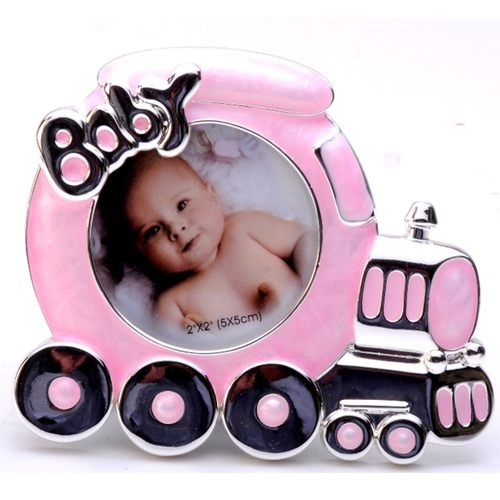 Silver Plated and Zircon Baby Toy Train Photo frame