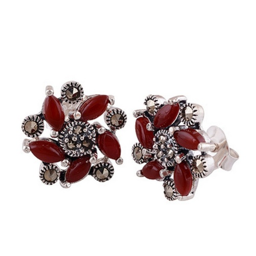 The Bud Marcasite Cut Stone Studs