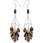 The Tiger Eye Cluster Silver Earrings