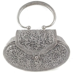 Collectible Floral Engrave Oval Sterling Silver Bag
