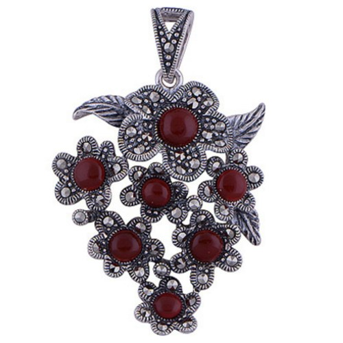 The Carnelian Bunch Silver Pendant