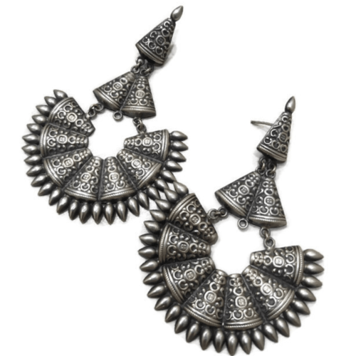 Silver Chandbali Earrings Big