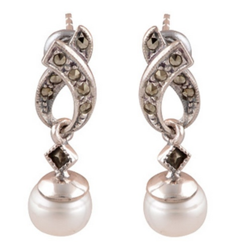 The Pearl Marcasite Silver Earrings