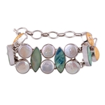 Rainbow Shell Silver Bracelet