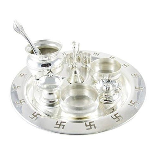 Silver Plated 9 Inch Swastik Pooja Thali Set