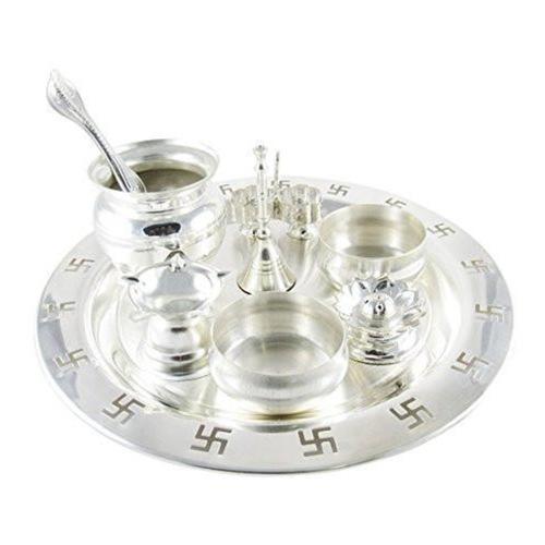 Silver Plated 9 Inch Swastik Pooja Thali Set
