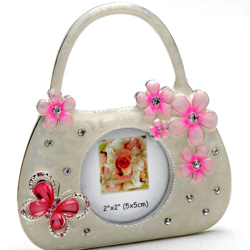 Silver Plated and Zircon Baby Handbag Photo frame