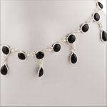 BLACK ONYX SILVER ANKLET