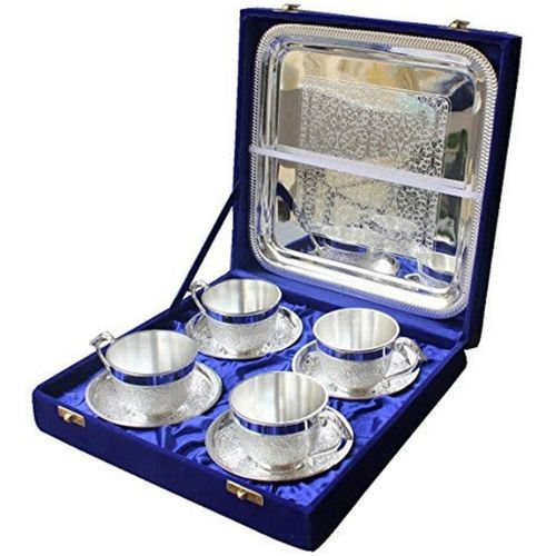 SILVER PLATED ARTISTIC TEA CUP TRAY SET OF 4 PC WITH LARGE TRAY
