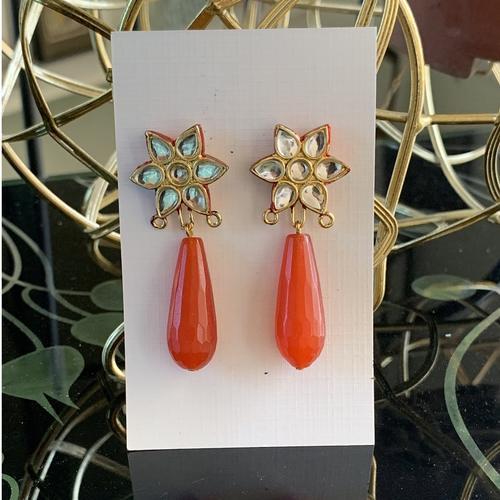Kundan stud & Orange