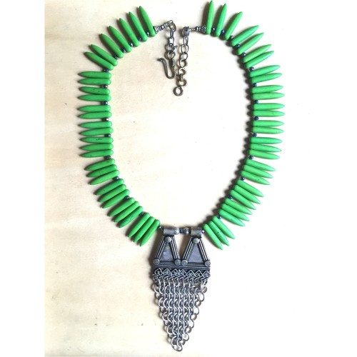 Lime Green Howlite spikes & ethnic pendant