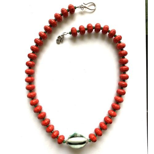 Coral Howlite & Ceramic