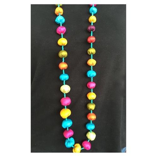 Jugaad Silk Beads Necklace - Long