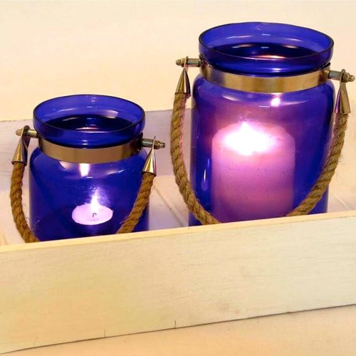 Blue Glass Rope Lantern (Small)