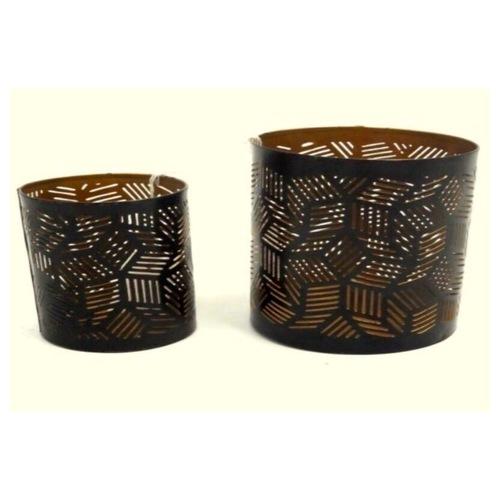 Moroccan Motive Black Tea Light Holders (Set of 2)