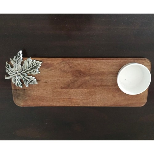 Wooden platter with dip bowl