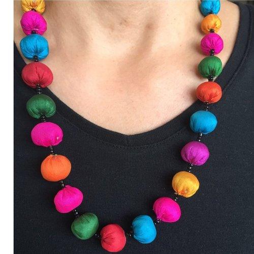 Jugaad Silk Beads Necklace - Short