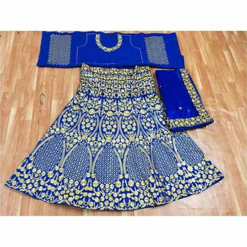 Blue Color Taffeta Velvet Embroidery Work Designer Lehenga Choli