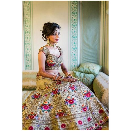 Multi color Heavy Taffeta Silk Lehenga Choli