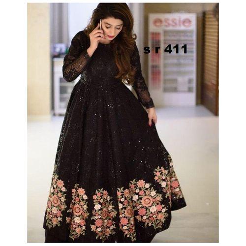 Women's Fency Heavy Black Rasal Net With Embroidery Work Gown