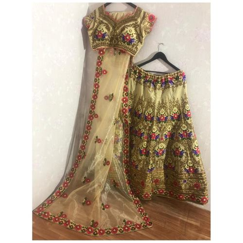 Multi color Heavy Taffeta Silk Lehenga Choli