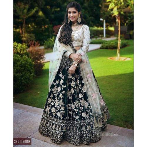 Girls Dark Green Color Designer viscose Velvet Heavy Embroidered Lehenga Choli