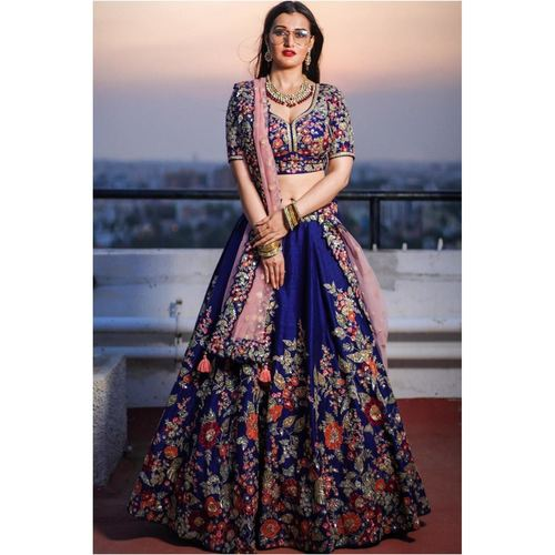 Designer Taffeta Silk Embroidered Lehenga Choli