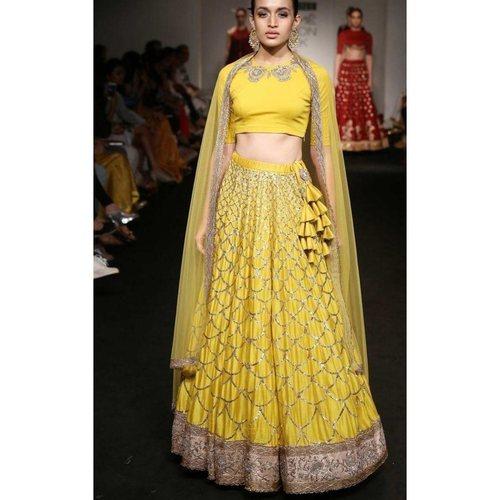 Designer Banglori Satin Chain Stitched Work Lehenga Choli