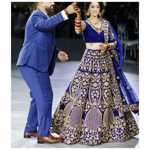 Blue Color Taffeta Velvet Embroidery Work Designer Lehenga Choli