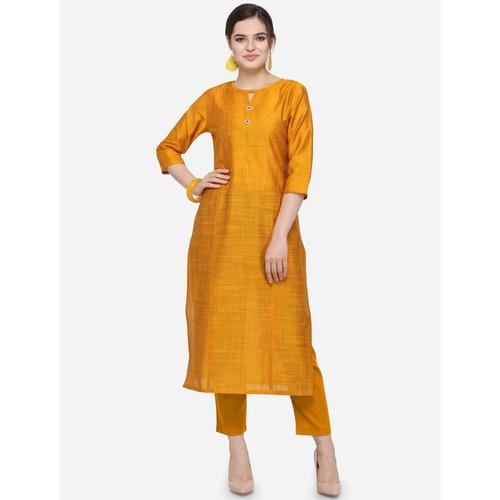 New Women's Cotton Silk Mustard Yellow Kurti
