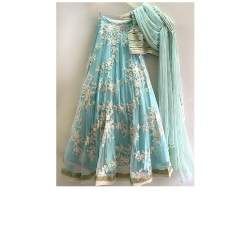 Womens Skyblue Georgette Embroidery Designer Lehenga Choli