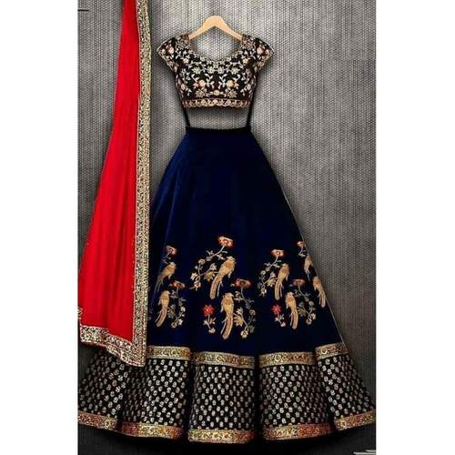 New Womens Blue viscose velvet Lehenga Choli With Embroidery Work