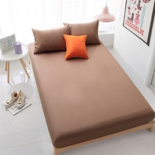 3PC Solid Colour Fitted Bedsheet Set (Brown)