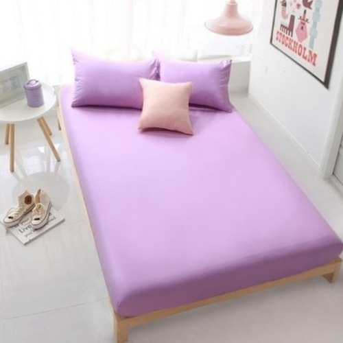3PC Solid Colour Fitted Bedsheet Set (Purple)