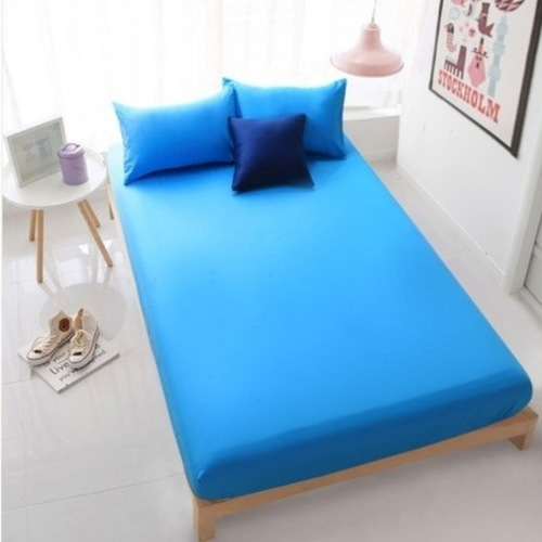 3PC Solid Colour Fitted Bedsheet Set (Blue)