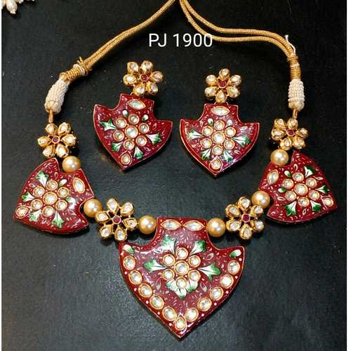 Kundan Meena Hand Painted Necklace Set