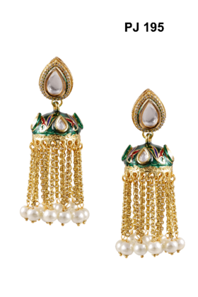 Kundan Meena Earrings Jhumki