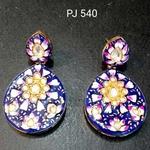 Kundan Meena Hand Painted Earrings