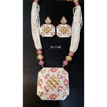 Kundan Meena Hand Painted Necklace / Pendant Set