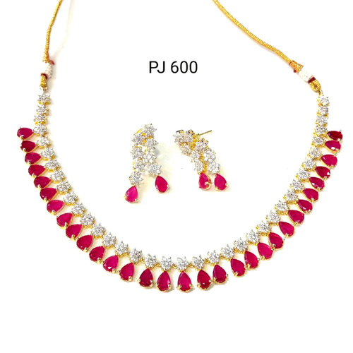 Cubic Zirconia Red Necklace Set