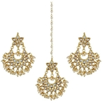Kundan Meena Earrings with Tikka