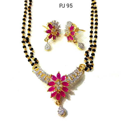 Cubic Zirconia Mangalsutra Set with Chain