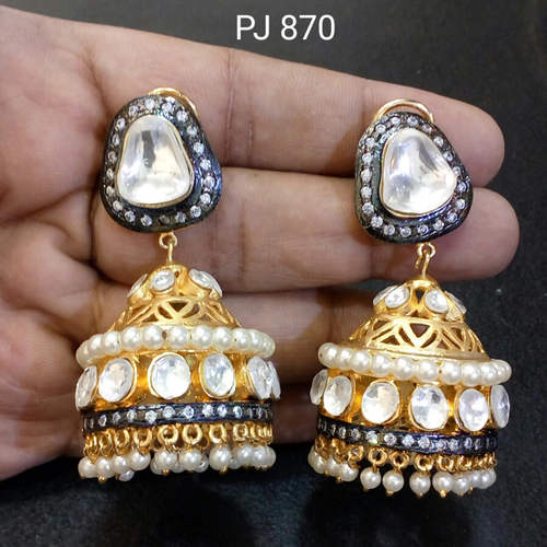 Kundan Meena Jhumki Earrings