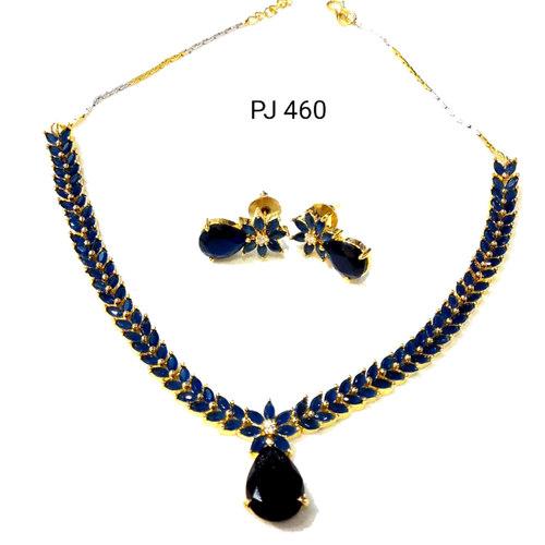 Cubic Zirconia Blue Necklace Set